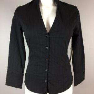 NWT TUCKER Phillipe Marcel Black LS shirt S